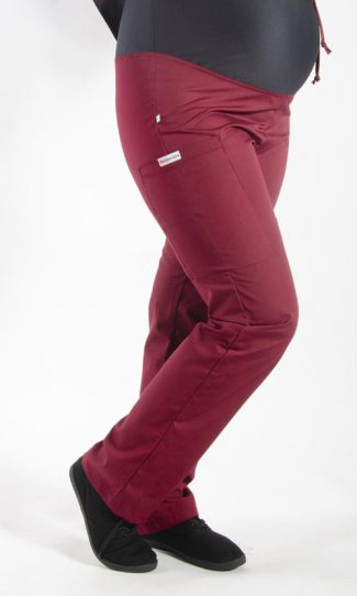 BURGUNDY coloured Maternity scrub pants with elasticated waistband