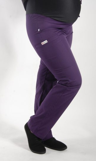 AUBERGINE coloured Maternity scrub pants with elasticated waistband