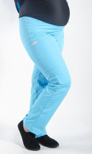 AQUA coloured Maternity scrub pants with elasticated waistband