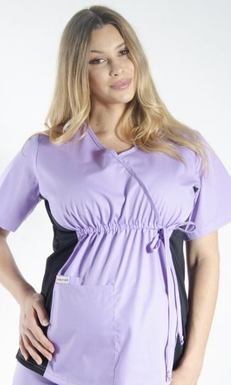 LILAC MATERNITY SCRUB TOP WITH SPANDEX PANEL & FRONT TIE