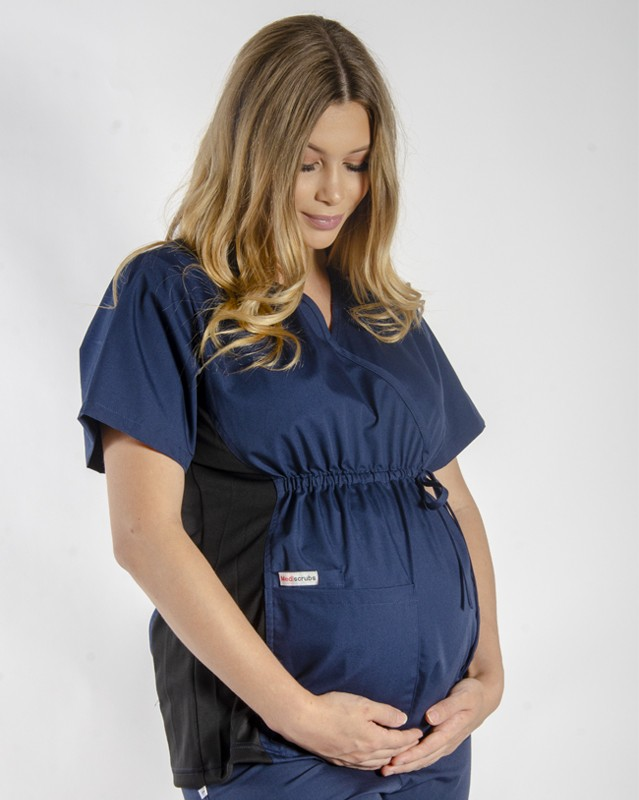 NAVY MATERNITY SCRUB TOP WITH SPANDEX PANEL & FRONT TIE
