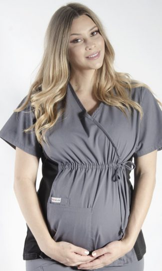 STEEL GREY MATERNITY SCRUB TOP WITH SPANDEX PANEL & FRONT TIE