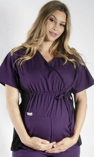 AUBERGINE MATERNITY SCRUB TOP WITH SPANDEX PANEL & FRONT TIE