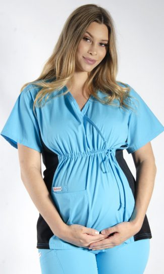 AQUA MATERNITY SCRUB TOP WITH SPANDEX PANEL & FRONT TIE