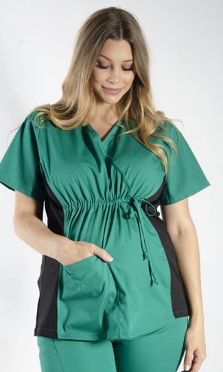 HUNTER MATERNITY SCRUB TOP WITH SPANDEX PANEL & FRONT TIE