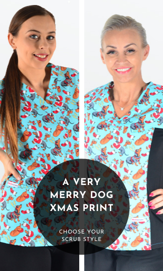 4. Very merry Dog Xmas Scrub Print