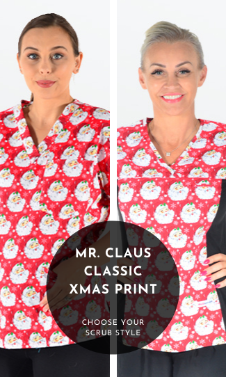 1. Mr Claus Xmas Scrub Print