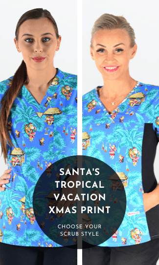 2. Santa's Tropical Vacation Xmas Scrub Print
