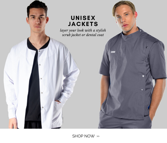 Shop Unisex scrub, dental and pharmacy jackets to get that layered look