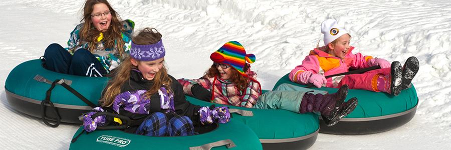 girls snow tubing