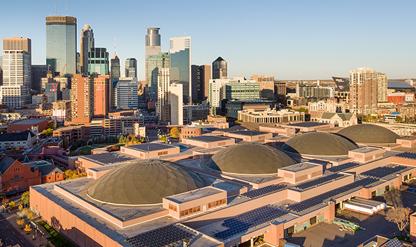 aerial view of minneapolis convention center