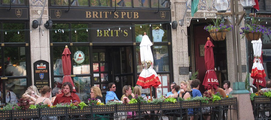 outdoor patio at brits pub