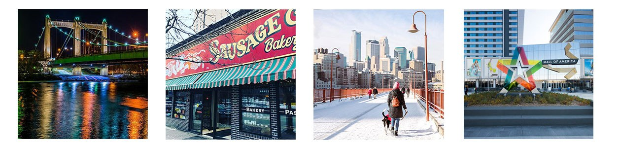 gallery of photos that show the hennepin ave bridge at night, exterior of Kramarczuk Deli, woman walking her dog in on a snowy stone arch bridge, and the exterior of the mall of america building