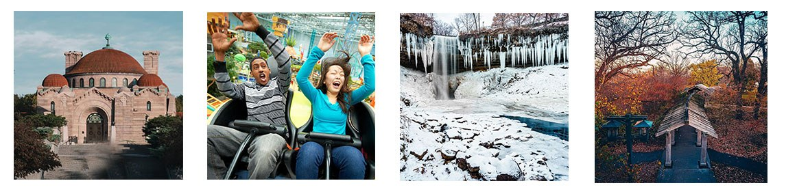 photo gallery of the entrance building to lakewood cemetary, a man and woman riding a rollercoaster at nickelodeon universe in mall of america, a frozen minnehaha falls waterfall, and a enclosed walkway at minnehaha park