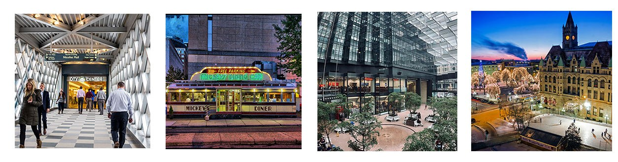 a group of photos showing people walking in city center skyway, mickey's diner, ids center and rice park at night