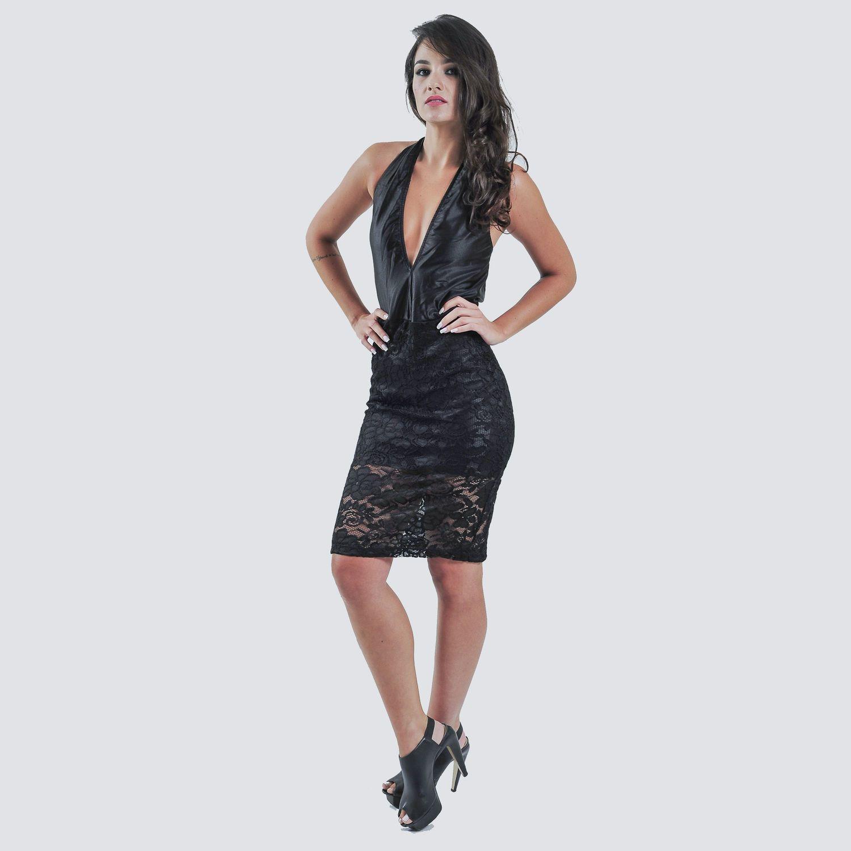 Vestido Decote Renda
