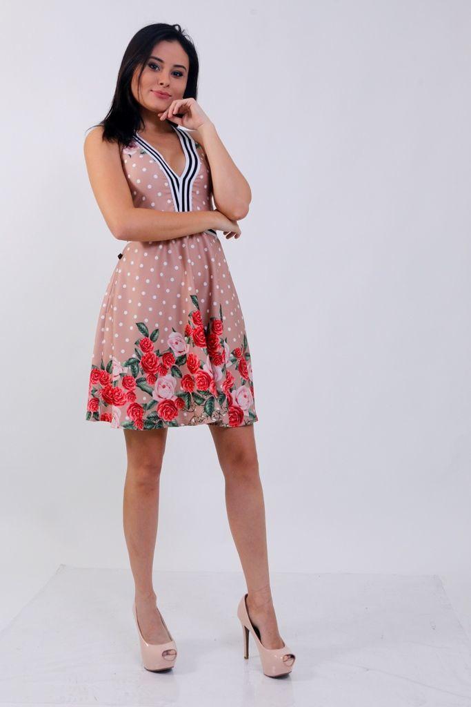 Vestido Flores Poá e Listras