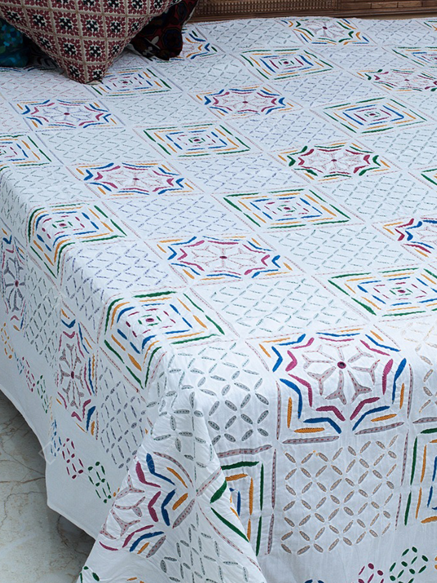 White Applique Multicolor Motifs Double Bed cover By Marudhara