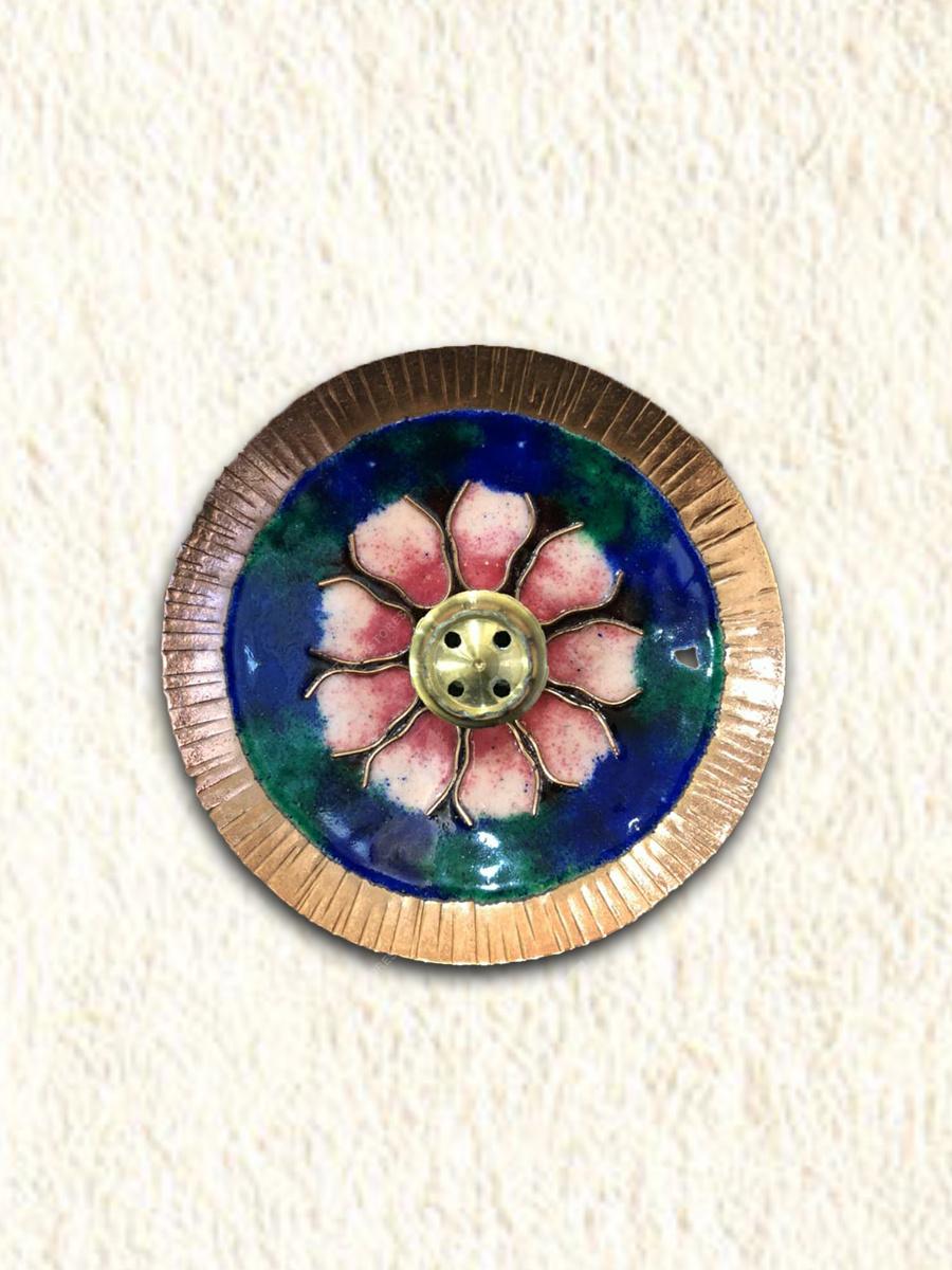 Copper Enamel Round Incense Stick Holder by Copper Enamel Art & Crafts