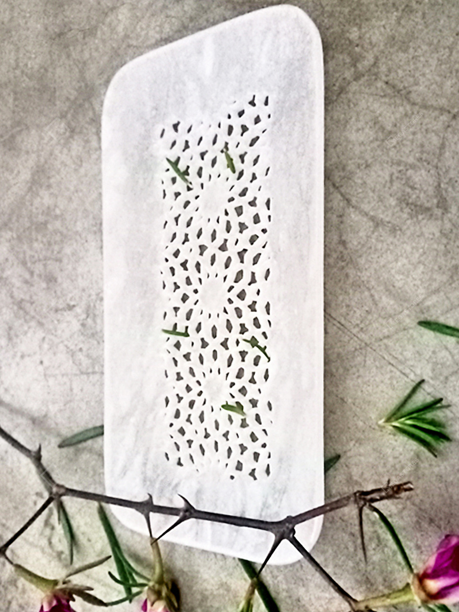 Sidrah Handcrafted Alabaster Stone Carving Tray by Artisaga