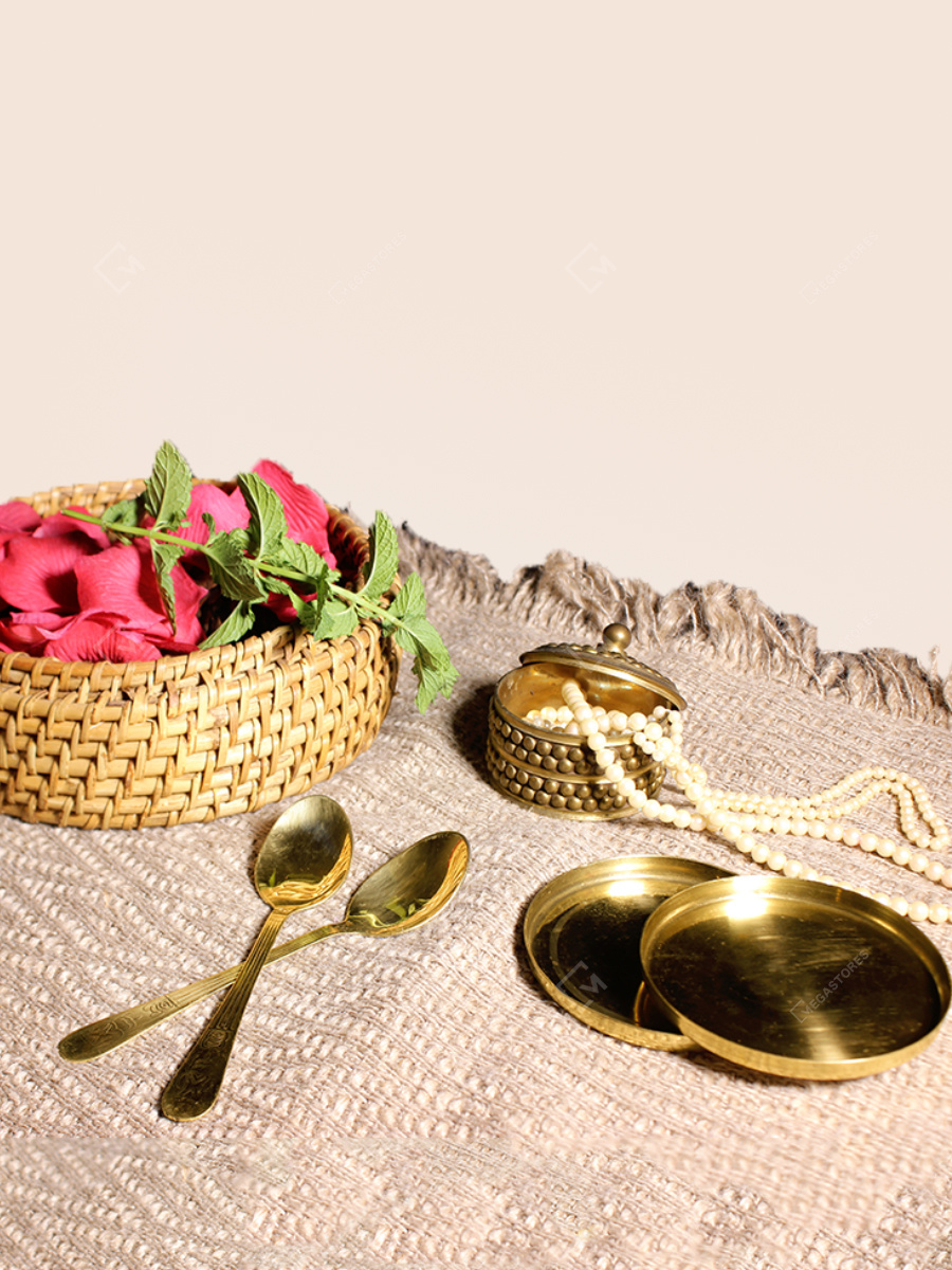 Handmade Brass Coasters 9.5 x 1 cms by P-TAL
