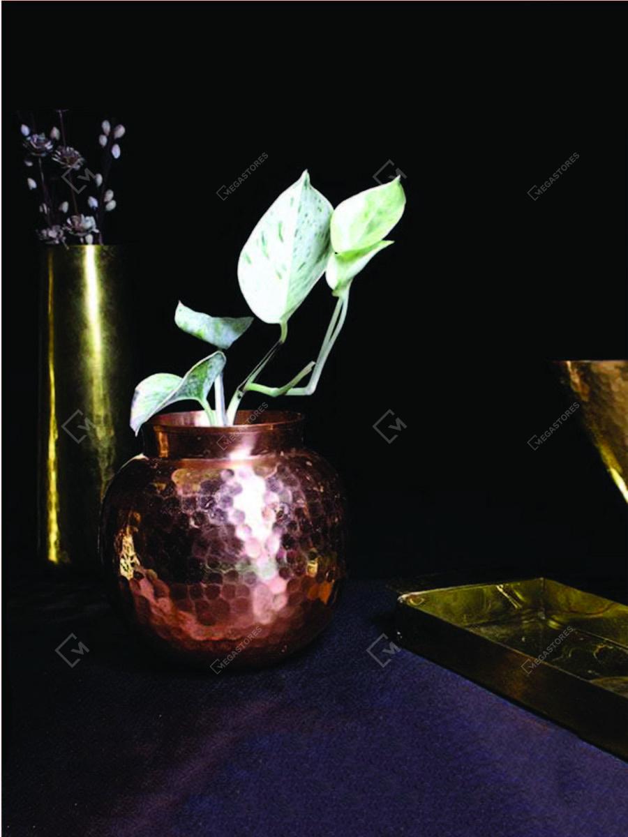 Handmade Copper Round Vase 9 x 13.5 cms by P-TAL