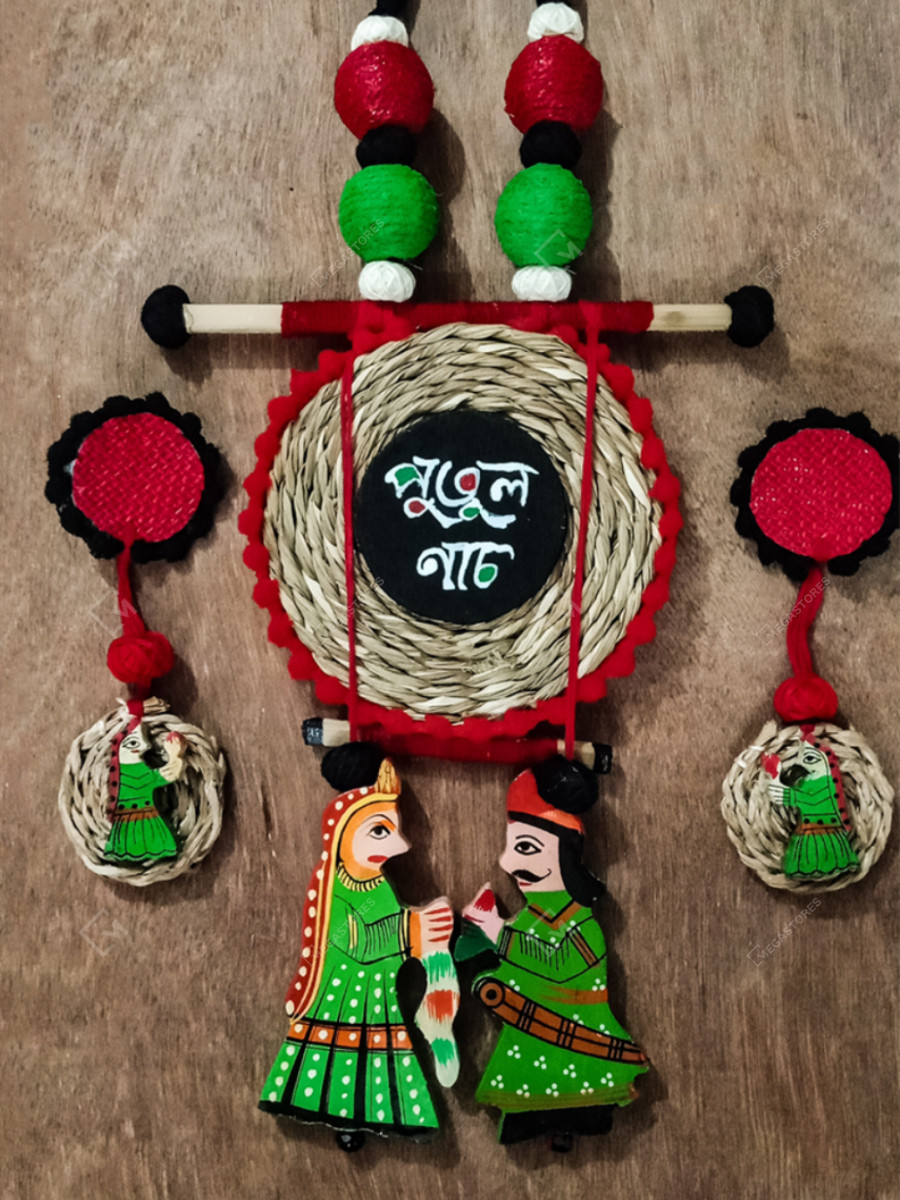 Handmade Wooden King and Queen Kathputli Grass Necklace Set by Rup