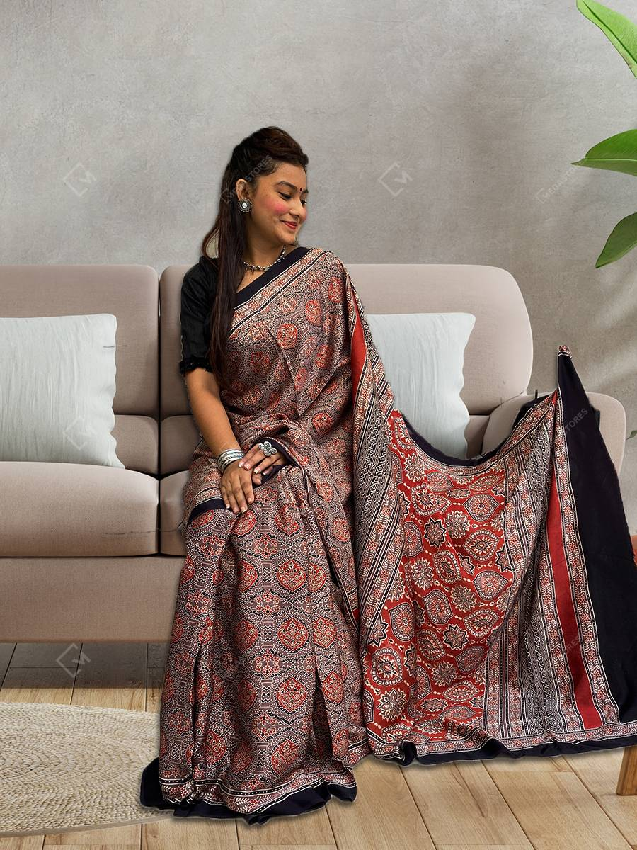 Ajrakh Print Red and Brown Modal Silk Saree by Mihsba Ajrakh Art