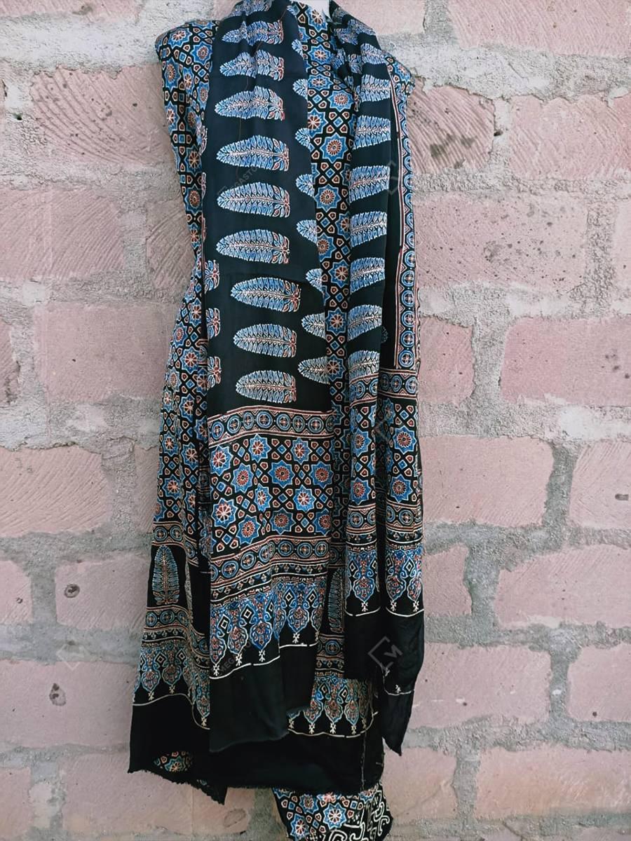 Ajrakh Print Blue Modal Silk Feather Motif 3pc Suit Set by Mihsba Ajrakh Art