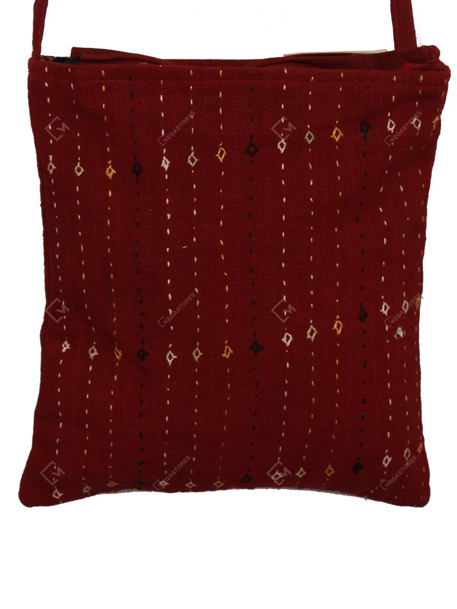 Kala Raksha Cotton 8 x 8.5 inches Maroon Hand Embroidery Sling Bag with Rabari work