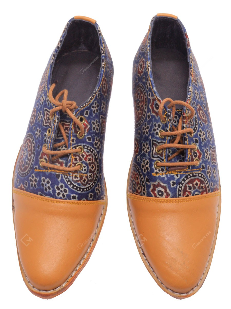 Karan Handicrafts Size 10 Leather Blue and Brown Masroo work Shoes with Laces