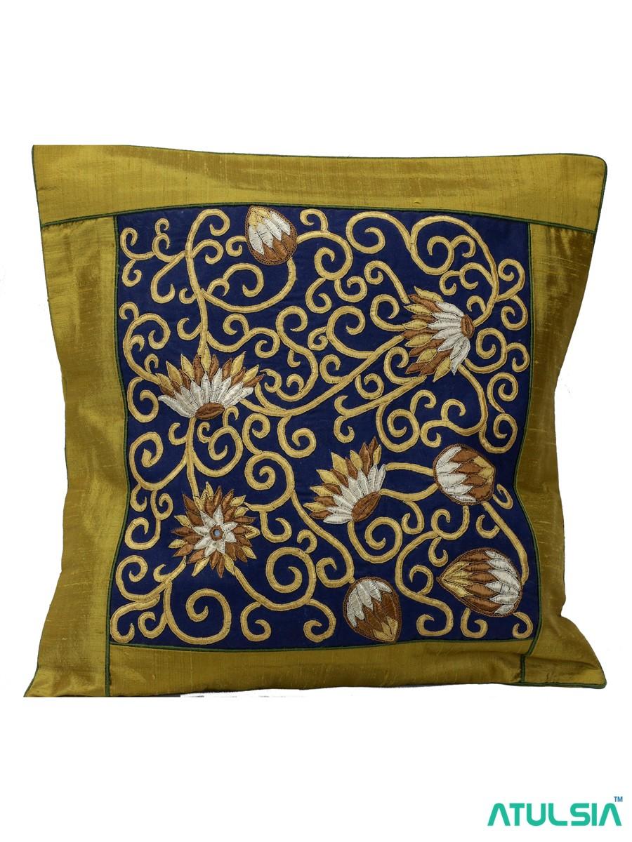 "Shrujan Pakko Embroidery 1-Piece 16"" X 16"" Mehendi Green Silk Lotuspond Cushion Covers"