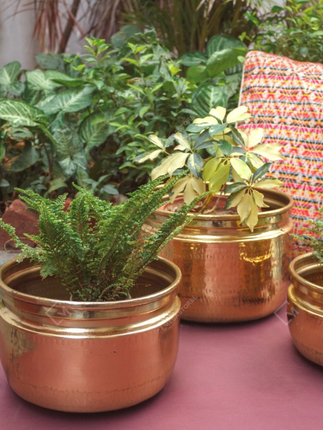 P-TAL 12 x 9 inches Handmade Large Brass Planters