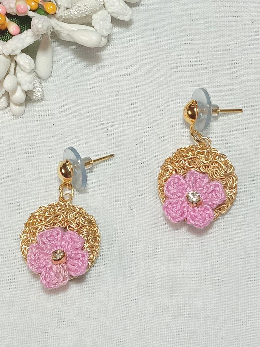 Crochet Flower Shape Baby Pink Earring by RB's Handicraft