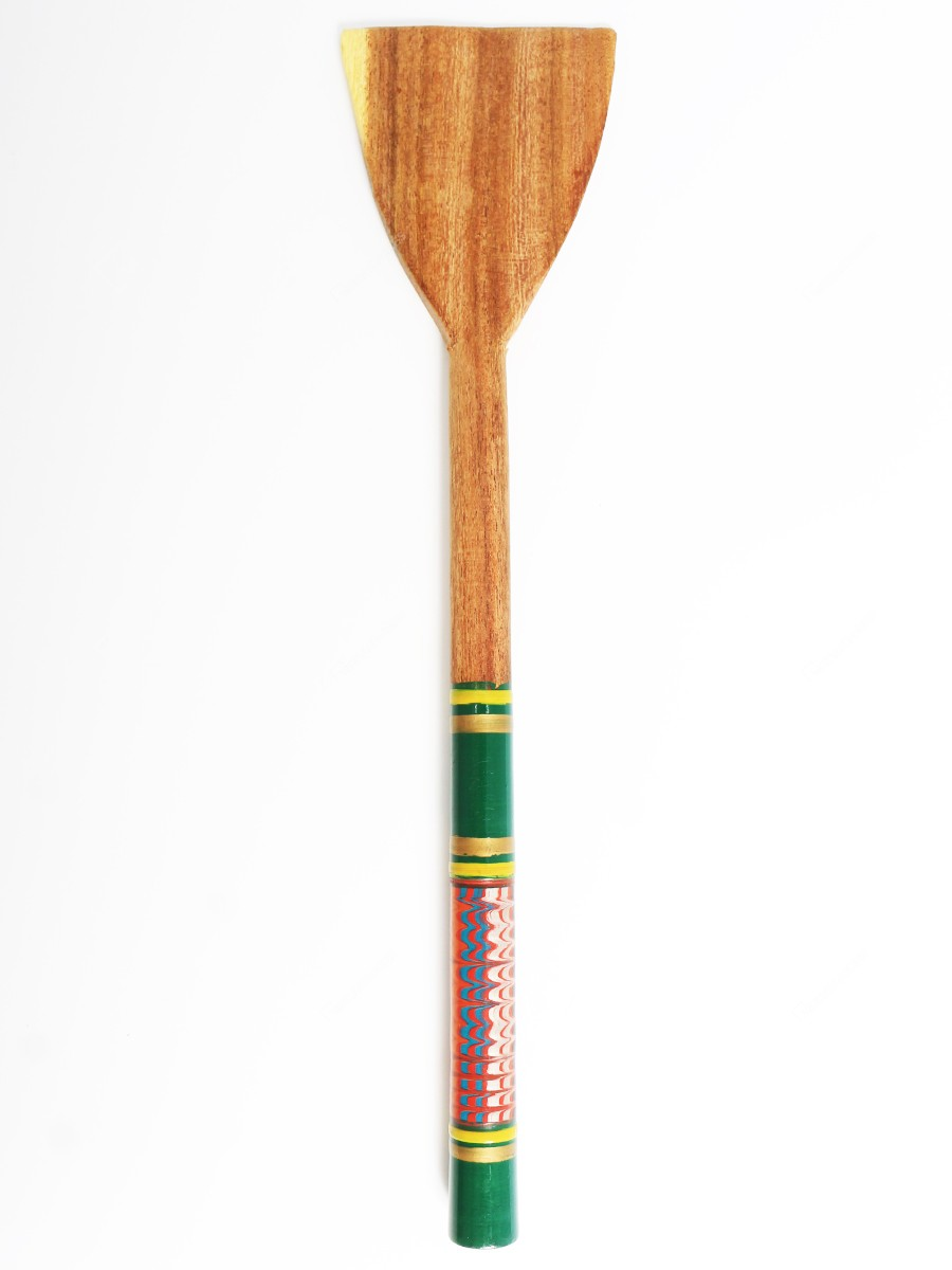 Khamir's Traditional Lacquers Wooden 3 x 12.5 inches Green Cooking Zigzag Pattern Spatula