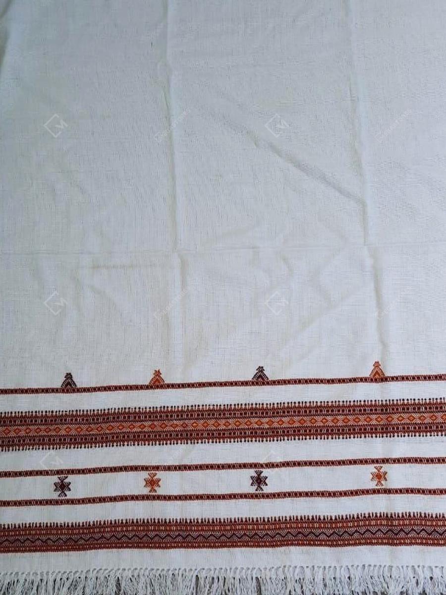 Kutchi Acrylic Wool 36 x 86 inches White Shawl by Kantilal Vankar
