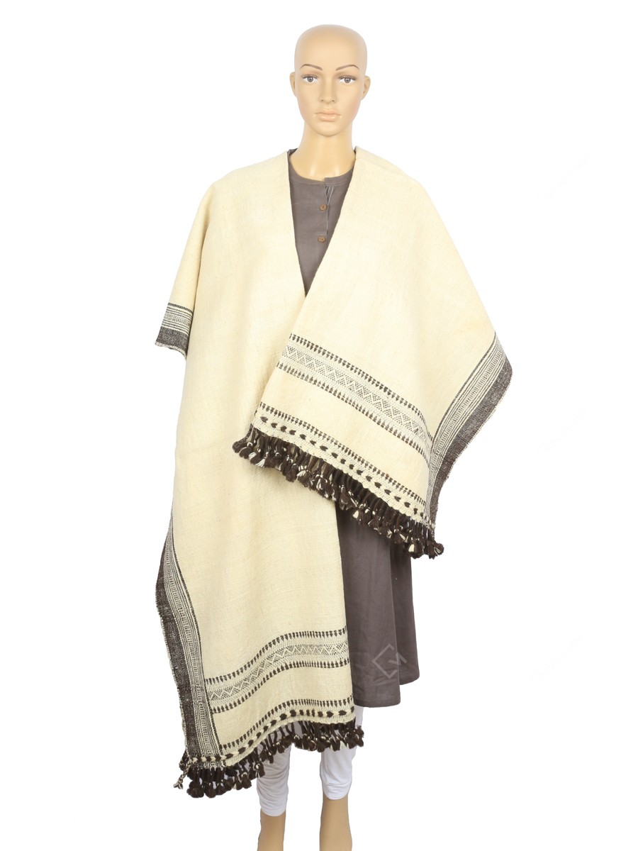 Padhiyar Ladhubhai Devji Desi Wool 36 x 90 inches White Natural Dye Handwoven Plain Shawl