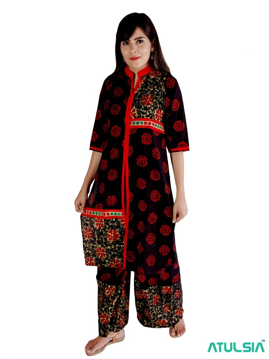VGS Batik Womens 100% Cotton Plazo Set Red Black, Size 42 with Batik Hand Print