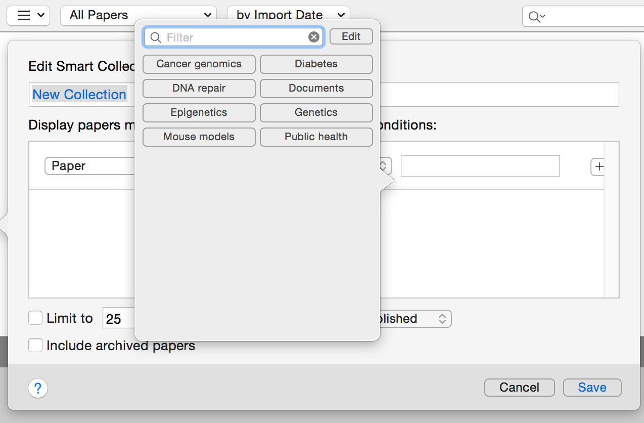Papers for Mac editing smart collections