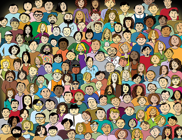 Illustration of a crowd of faces.