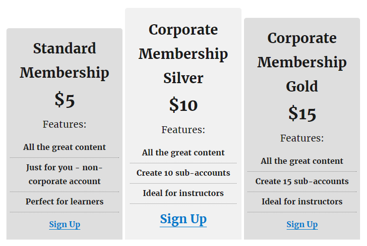 Create multiple membership optons with different sub-account limits