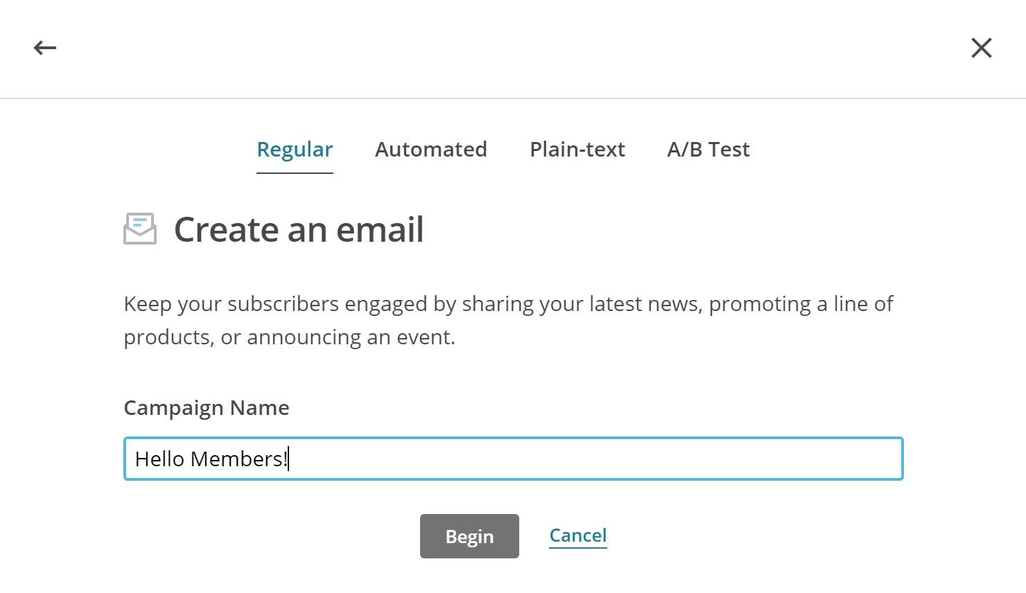 Create a membership email newsletter