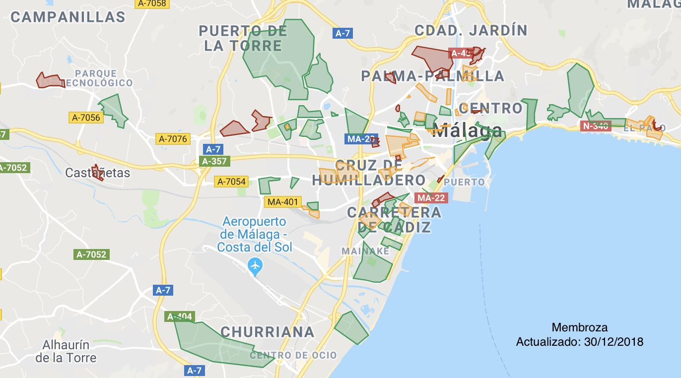 Mapa De Malaga Capital Por Barrios.Mi Mapa De Zonas Y Peligrosidad De Malaga Shurmalaguenos