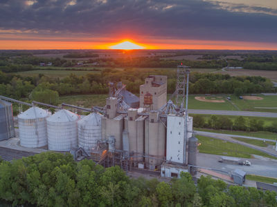Sun sets over the Troy Elevator