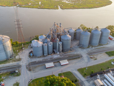Aerial view of the grain elevator in West Point, Virginia