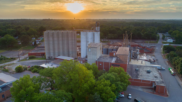 Aerial view of bakery mix plant in Newton, North Carolina