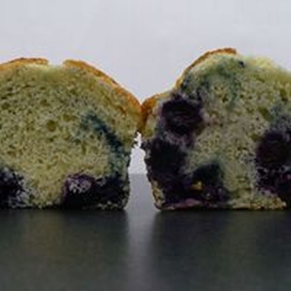 Blueberries suspended with Xpress Flour on the right