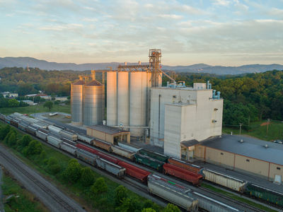 Mountain view of flour mill in Roanoke, Virginia