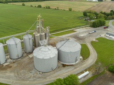 Aerial view of grain elevator