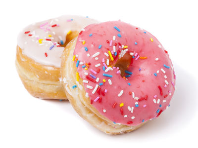 Frosted yeast-raised donuts